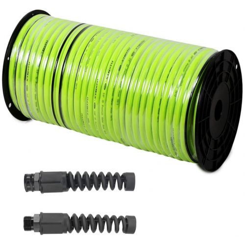 "This 100' roll of Flexzilla Watering Hose includes 1 x female and 1 x male 5/8"" hose end fitting."