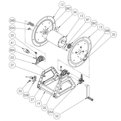 """Parts listing for the Hannay 1500 Series 18"""" Manual Reels."""