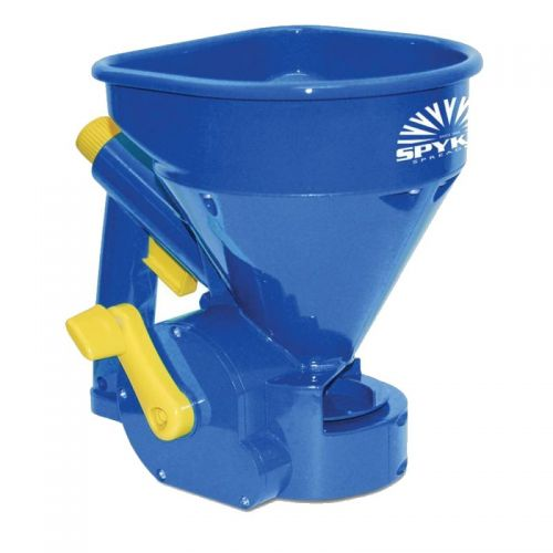 Spread granular materials evenly in tight, narrow spaces with this handheld spreader from Spyker.