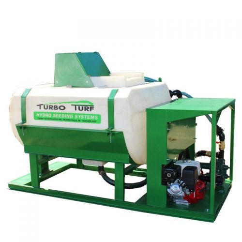 Skid Mounted 400 US gallon Turbo Turf Hydro Seeder can handle even the most difficult hydro seeding material.
