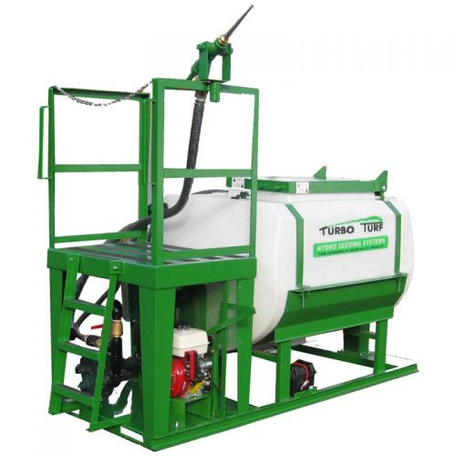This Skid Mounted 500 US gallon capacity Turbo Turf Hydro Seeder can spray the most difficult of materials and heavy slurries.
