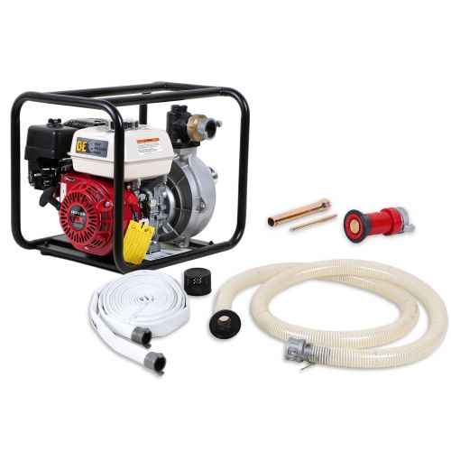 Portable Firefighting Kit - includes 196cc Honda GX200 engine, centrifugal Pump, 12 ft suction hose, 50 ft discharge hose, foot valve, nozzle, and tools.
