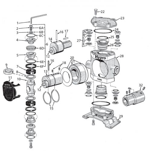 Parts breakdown for the Hypro 5210 series Piston Pumps.