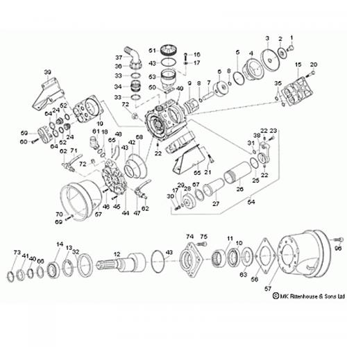 Complete parts breakdown for the Hypro D1064 Diaphragm Pump.