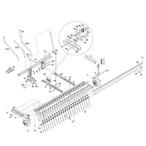 Parts listing for the JRCO 470 Tine Rake Dethatcher (Spring 2009-Present).