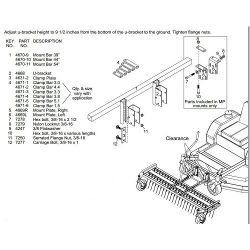 JRCO Universal Mounting Bar Parts