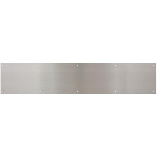 These stainless steel screw-mounted kick plates offer excellent protection for door bottoms against scuffing and damage.