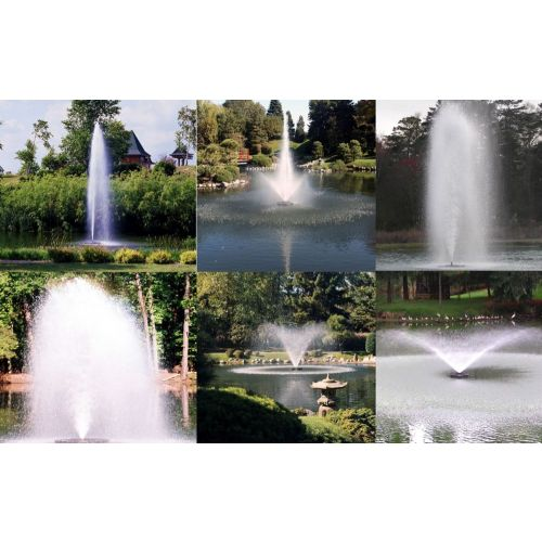 Six fountain patterns provided with the Kasco 3.3JF Decorative Aerating Fountains.