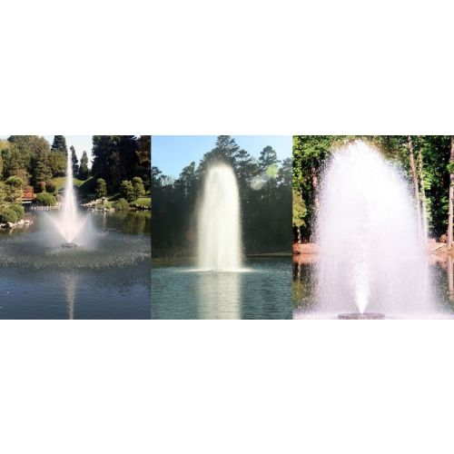 Three fountain patterns produced by the Kasco 7.3JF Decorative Aerating Fountain.