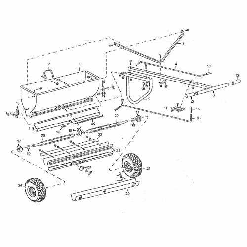 Replacement parts for the Lesco 092474 Drop Spreader.