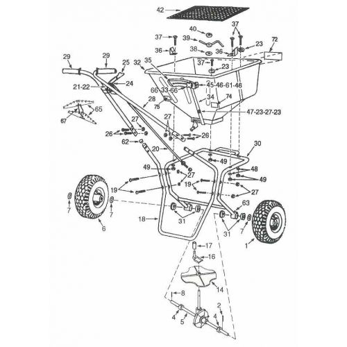 Parts listing for the Lesco High Wheel Spreader Model 021820.