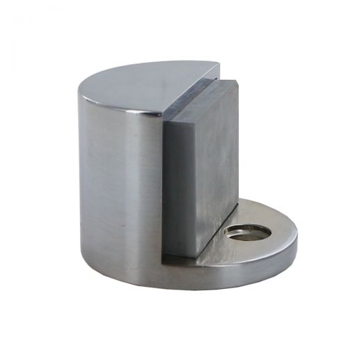 A stainless steel door stop to prevent doors from swinging open and causing damage.
