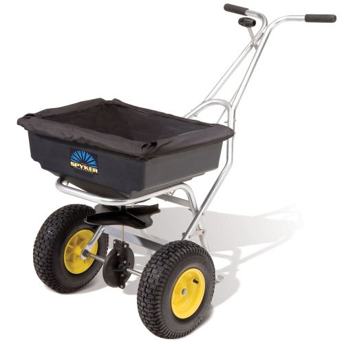 The Spyker S60-8020 Push Spreader with stainless steel frame.