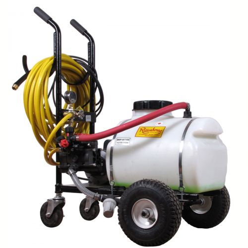 Electric Powered Sprayer with 12 US Gallon tank capacity. Provides a convenient way to spray your greenhouse, garden center and other interior spraying.