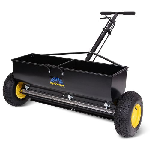 Spyker P70-12010 Commercial Drop Spreader with powder coated steel frame.