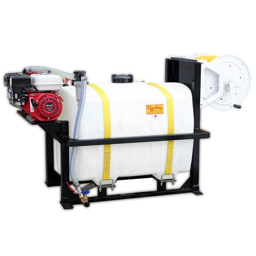 Space Saving 100 US Gallon Skid Mount Sprayer. Shown with a Honda GX160 gas engine and a manual rewind hose reel. Leaves lots of extra space for other tools and supplies.