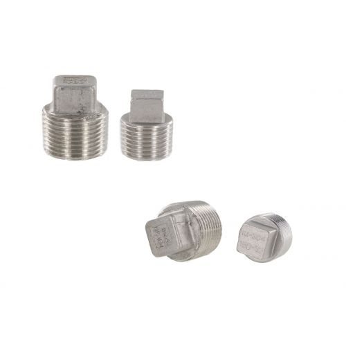3/4 inch and 1/2 inch Stainless Steel Plugs - plumbing components.