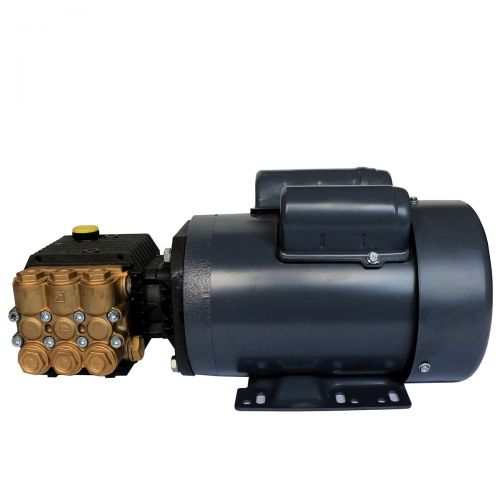 General Pump Triplex Plunger Pump T9051BA coupled to a 1 HP, 1750 RPM Electric Motor for greenhouse sprayers.