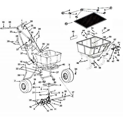 Parts for Lesco Spreader 091186 and 101186