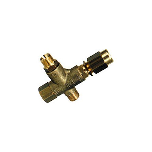 "Brass UB130 Unloader Valve with 3/8"" MNPT inlet x 3/8"" MNPT outlet."