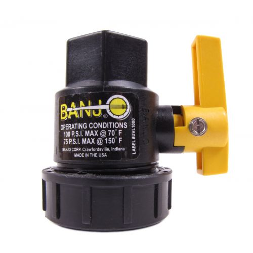Banjo Single Union Polypropylene Ball Valve with different thread sizes.