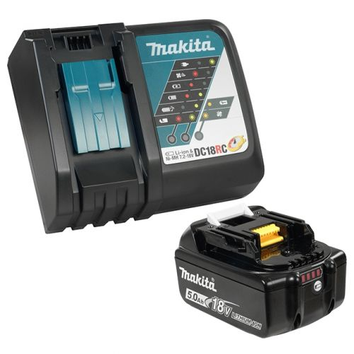 Includes 1 x 18V Lithium-Ion battery and 1 x Rapid Charger.