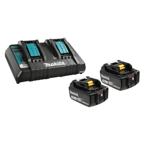 Includes 2 x 18V Lithium-Ion batteries and 1 x Dual-Port Rapid Charger.